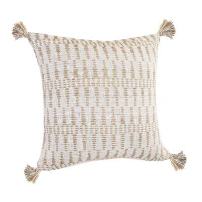 Natural Ivory / Beige Geometric Tasseled Durable Poly-Fill 20 in. x 20 in. Throw Pillow