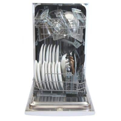 18 in. White Front Control Smart Dishwasher, 120-volt Stainless Steel Tub