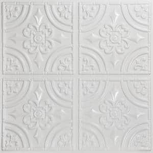 Wrought Iron 2 ft. x 2 ft. Glue Up PVC Ceiling Tile in White Pearl