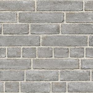 Grey Brick Facade Vinyl Peel & Stick Wallpaper Roll (Covers 30.75 Sq. Ft.)