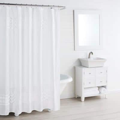 Triple Diamond 72 in. x 72 in. White Shower Curtain