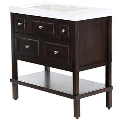 Ashland 37 in. W x 19 in. D Bathroom Vanity in Chocolate with Cultured Marble Vanity Top in White with White Sink