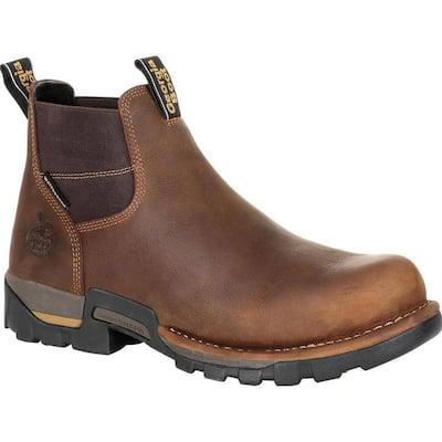 Men's Eagle One Waterproof Chelsea Work Boot - Steel Toe - Brown Size 8.5(W)