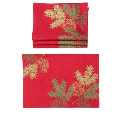 0.1 in. H x 20 in. W x 14 in. D Christmas Pine Tree Branches Embroidered Double Layer Placemats (Set of 4)