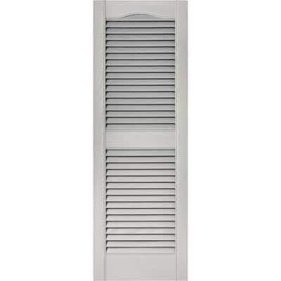 15 in. x 43 in. Louvered Vinyl Exterior Shutters Pair in Paintable