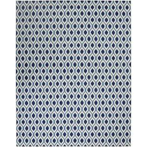 Grafix White/Navy 8 ft. x 10 ft. Geometric Modern Area Rug