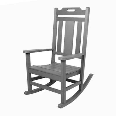 Modern All Weather Gray Rocking Plastic Adirondack Chair