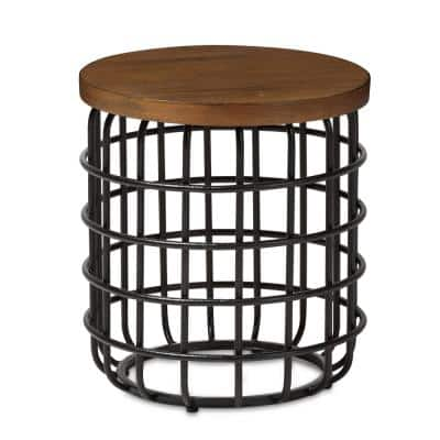 Carie Vintage Industrial Medium Brown Wood Finished End Table