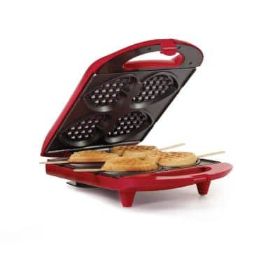 Heart-Shaped 4-Waffle Red American Waffle Maker with Recipe Booklet