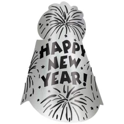 New Year's 9 in. Silver Glitter Foil Cone Hat (12-Pack)
