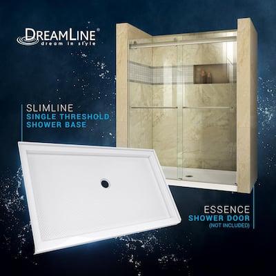 SlimLine 34 in. D x 60 in. W Single Threshold Shower Base in White