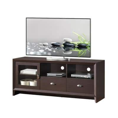 55 in. Wenge Composite TV Stand with 2 Drawer Fits TVs Up to 60 in. with Storage Doors