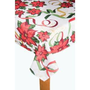 Christmas Ribbon 60 in. x 102 in. Multi 100% Polyester Tablecloth