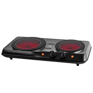 Portable Stainless Steel Electric Cooktop Infrared 2-Burner, 7 in. and 6.5 in., Black, with Ceramic Glass Hot Plate