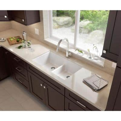 Drop-in/Undermount Granite Composite 33 in. 1-Hole 60/40 Double Bowl Kitchen Sink with Low Divide in White