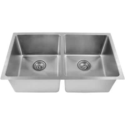 Undermount Stainless Steel 31 in. 50/50 Double Bowl Kitchen Sink