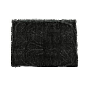 Warrin Black and White Streak Faux Fur Throw Blanket
