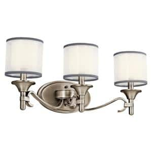 Lacey 3-Light Antique Pewter Vanity Light with Satin Etched Glass