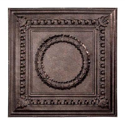 Rosette 2 ft. x 2 ft. Smoked Pewter Lay-In Vinyl Ceiling Tile (20 sq. ft.)