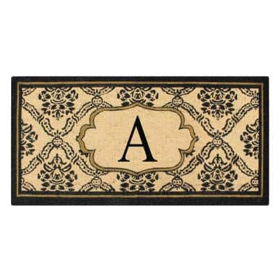 A1HC First Impression Black/Beige 30 in.  in. x  in. 60 in. Uriel Treated Coir Monogrammed A Entry Double Door Mat