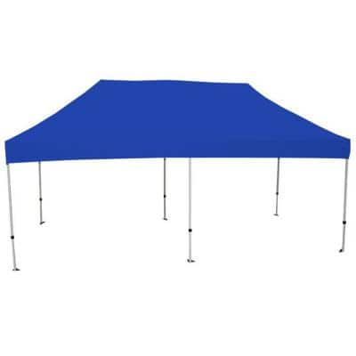 Athena 10 ft. x 20 ft. White Frame Instant Pop Up Tent with Blue Cover
