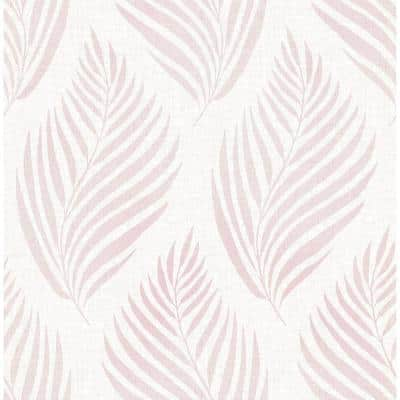 Patrice Pink Linen Leaf Pink Wallpaper Sample