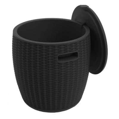 Susanna 17.3 in. H Plastic Ice Bucket with Lid in Black