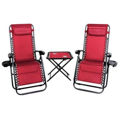 Red Metal Folding Lawn Chair set, 2 Zero Gravity Chairs with Cupholders, 1 Table