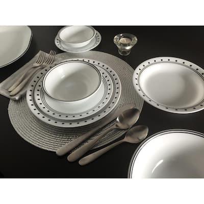 16-Piece Modern City Block Glass Dinnerware Set (Service for 4)