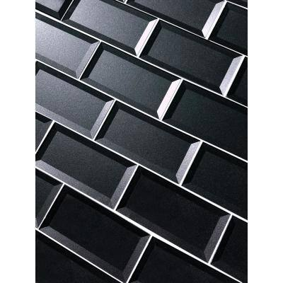 DIY Reverse Bevel Metallic Blue Gray 3 in. x 6 in. x 0.2 in. Glass Peel and Stick Tile (12 Sq. ft./Case)