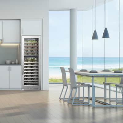 153 Bottle Seamless Stainless Steel Dual Zone Wine Refrigerator