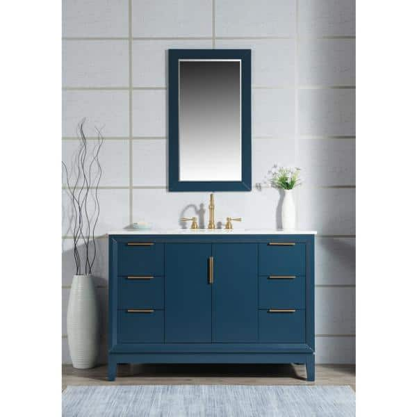 Water Creation Elizabeth 48 In Bath Vanity In Monarch Blue With Carrara White Marble Vanity Top With Ceramics White Basins And Faucet Vel048cwmb37 The Home Depot