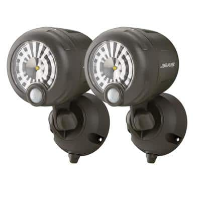 Outdoor 250 Lumen Battery Powered Motion Activated Integrated LED Security Light, Brown (2-Pack)