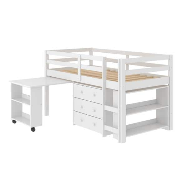 Donco Kids White Twin Low Loft Bed   The Home Depot