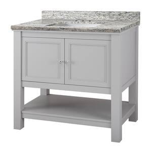 Gazette 37 in. W x 22 in. D Vanity in Grey with Granite Vanity Top in Santa Cecilia with White Sink
