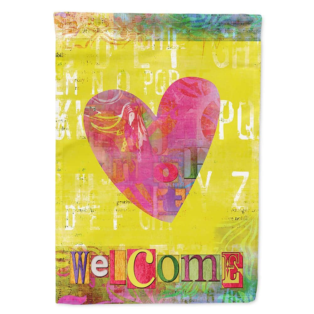Caroline S Treasures 28 In X 40 In Polyester Artsy Welcome Heart Flag Canvas House Size 2 Sided Heavyweight Sb3099chf The Home Depot