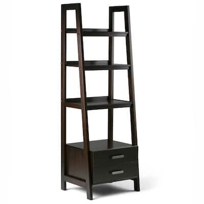 Sawhorse 72 in. H Dark Chestnut Brown Wood 4-Shelf Ladder Bookcase