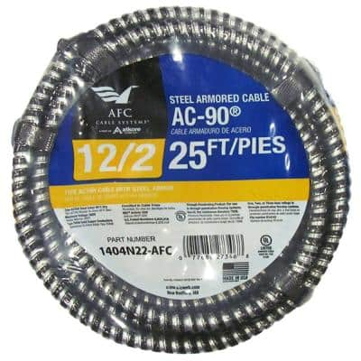 12/2 x 25 ft. Solid BX/AC-90 Cable