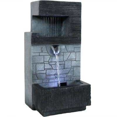 13 in. Modern Tiered Brick Wall Tabletop Water Fountain with LED