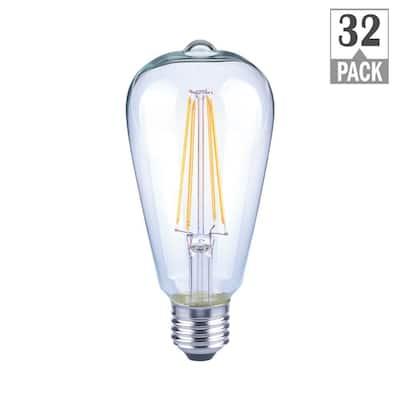 40-Watt Equivalent ST19 Dimmable Clear Glass Filament Vintage Edison LED Light Bulb Soft White (32-Pack)
