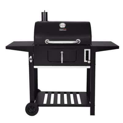 Charcoal Grill with 2 Side Table in Black