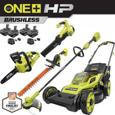 ONE+ HP 18V Brushless Cordless Walk Behind Push Lawn Mower/Trimmer/Blower/Hedge/Chainsaw w/ (4) Batteries & (3) Chargers