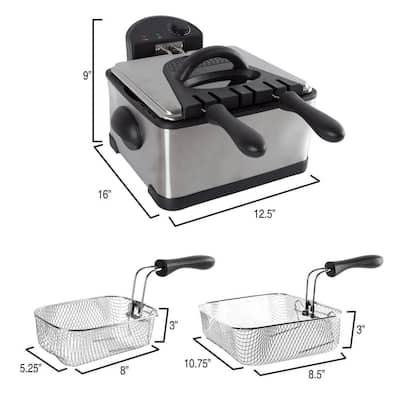 4 Qt. 3-Basket Electric Deep Fryer (5-Piece)