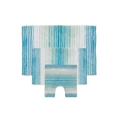 Gradiation Rug Collection Turquoise 17 in. x 24 in. / 21 in. x 34 in. / 20 in. x 20 in. Bath Rug Set