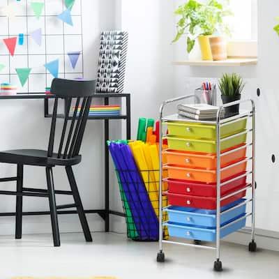 Wayar 8-Shelf Chrome 4-Wheeled 8-Drawer Trolley in Rainbow
