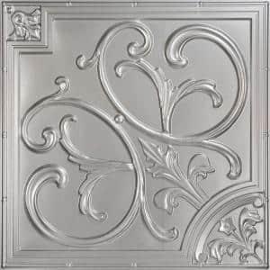 Lilies and Swirls 2 ft. x 2 ft. PVC Lay-in or Glue-up Ceiling Panel in Silver (100 sq. ft. / case)