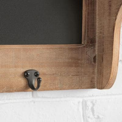 10 in. H x 32 in. W x 5 in. D Wood and Black Metal Wall-Mount Storage Shelf with 3 Hooks