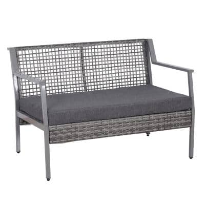 Grey Aluminum Plastic Rattan Wicker Outdoor Patio Loveseat Bench with Grey Cushion, Rectangular Design and Quality Build