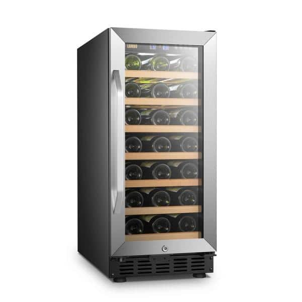 Lanbo 15 In 33 Bottle Stainless Steel Single Zone Wine Refrigerator Lw33s The Home Depot