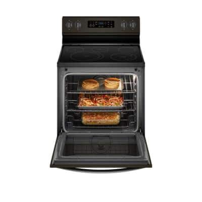 6.4 cu. ft. Electric Range in Black Stainless with Frozen Bake Technology